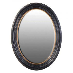 Black Gold Oval Mirror