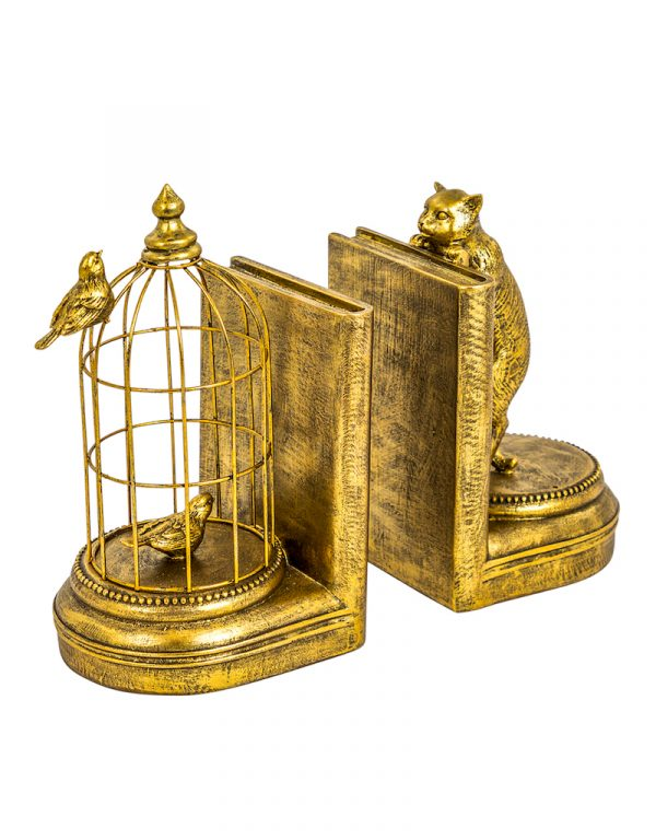 Gold Cat & Cage Bookends