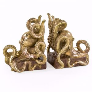 Gold Octopus Bookends - Source Interiors