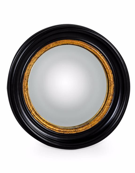Round Black Medium Convex Mirror