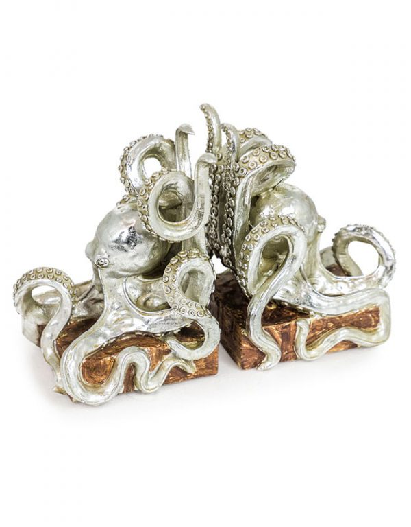 Silver Octopus Bookends - Source Interiors