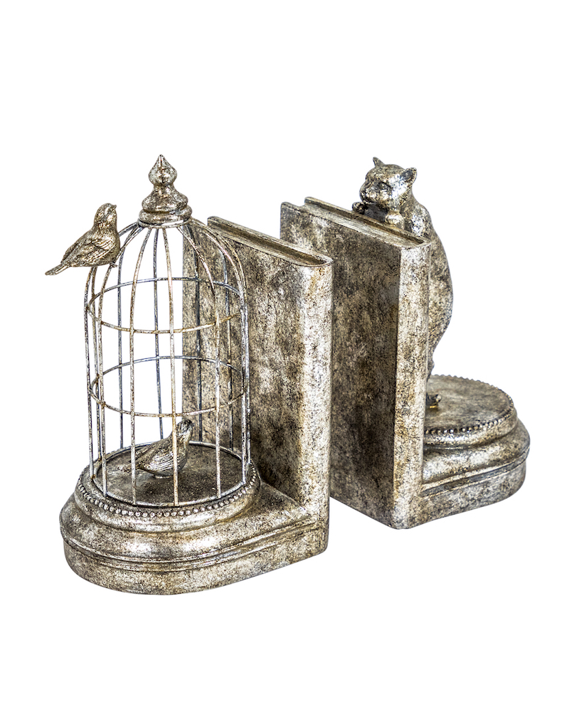 Antique Silver Cat & Cage Bookends €69.00