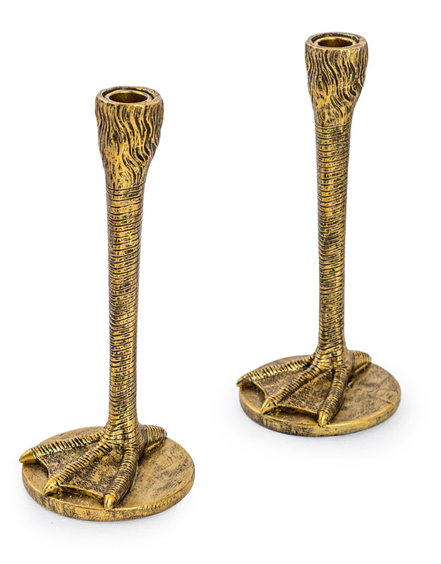 Pair of Antique Gold Bird Leg Candlesticks - €39.00