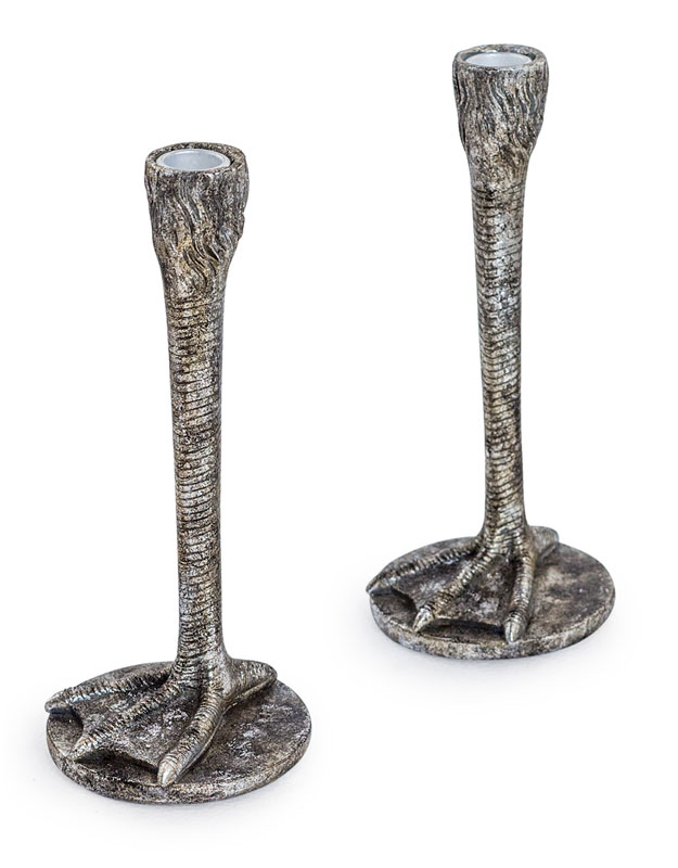 Pair of Antique Silver Bird Leg Candlesticks - €39.00