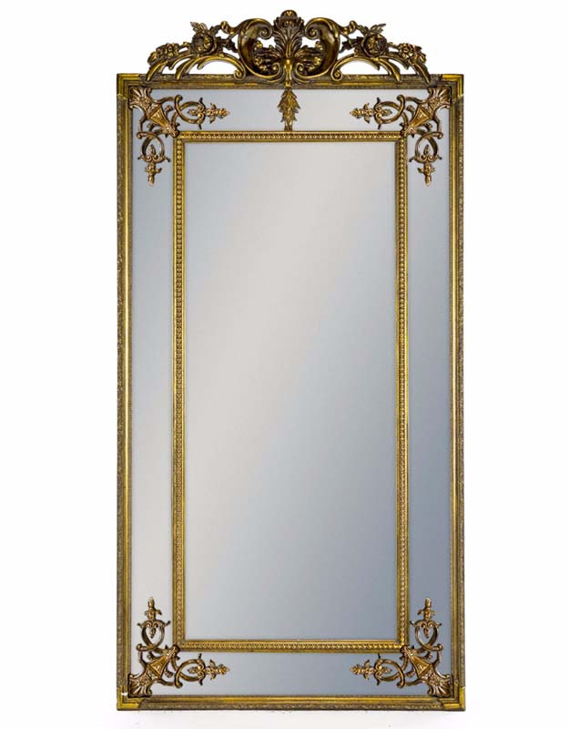 Tall Gold French Mirror with Crest €479.00