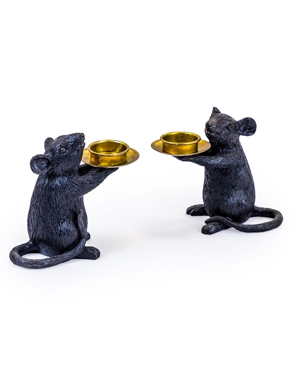 Pair of Black Mouse Candle Holders - €49.00 | 15x16.5x8cm