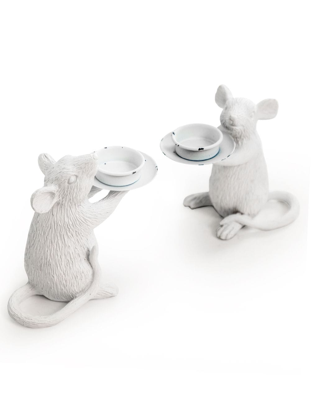 Pair of White Mouse Candle Holders - €49.00 | 15x16.5x8cm